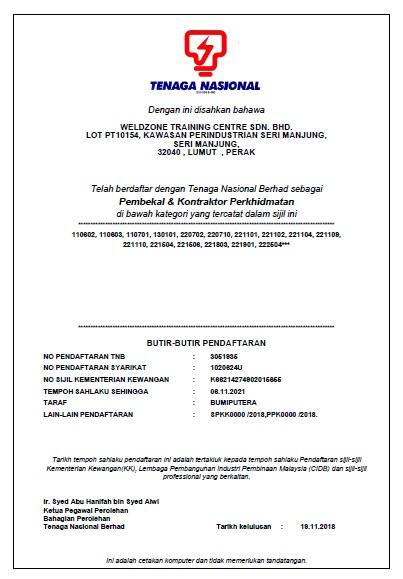 sijil tnb